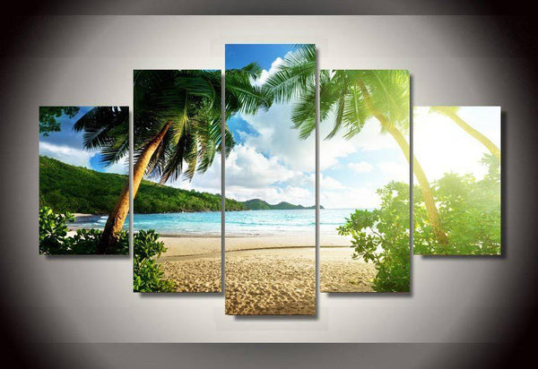 Beach Palm Tree Landscape on Canvas - Gaia-Stock.com