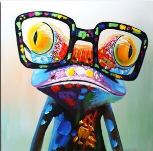 Big Glasses Frog Oil Painting - Gaia-Stock.com
