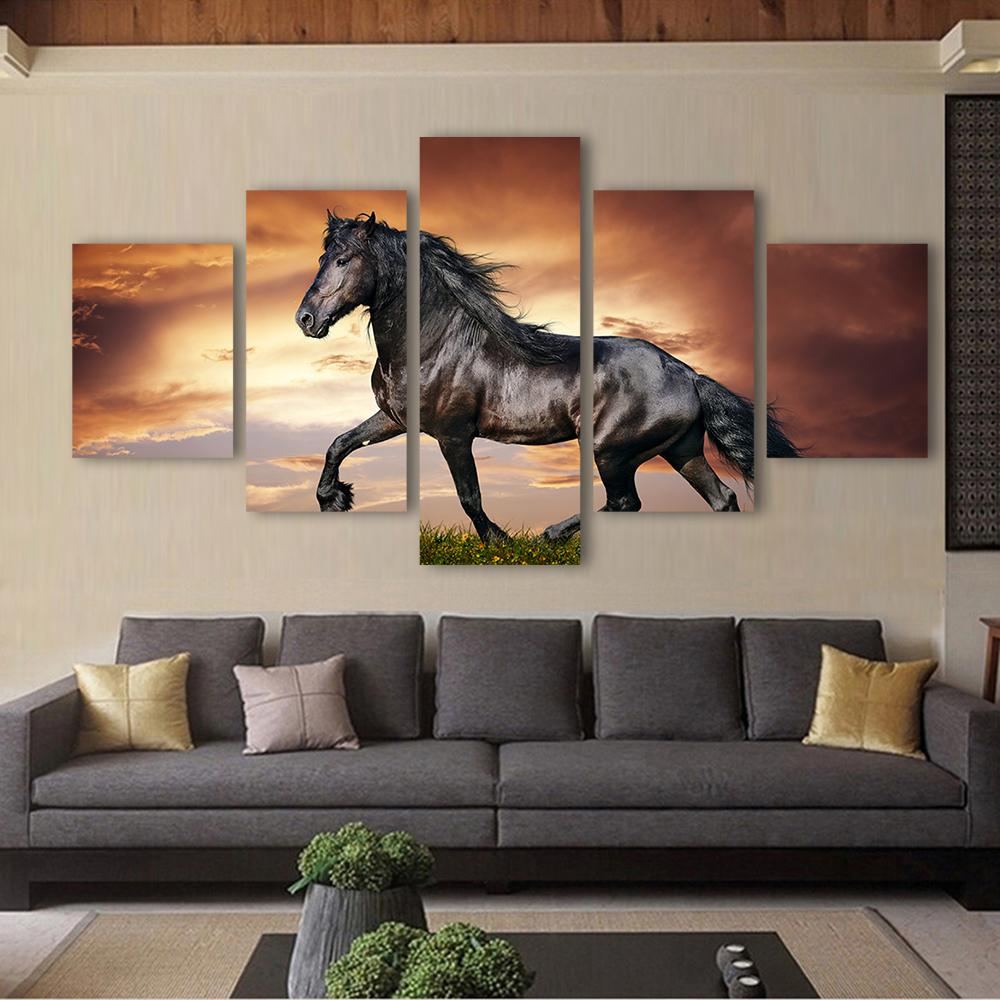 Black stallion Horse Wall Art - Gaia-Stock.com
