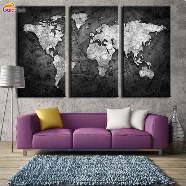 Black World Map - Gaia-Stock.com
