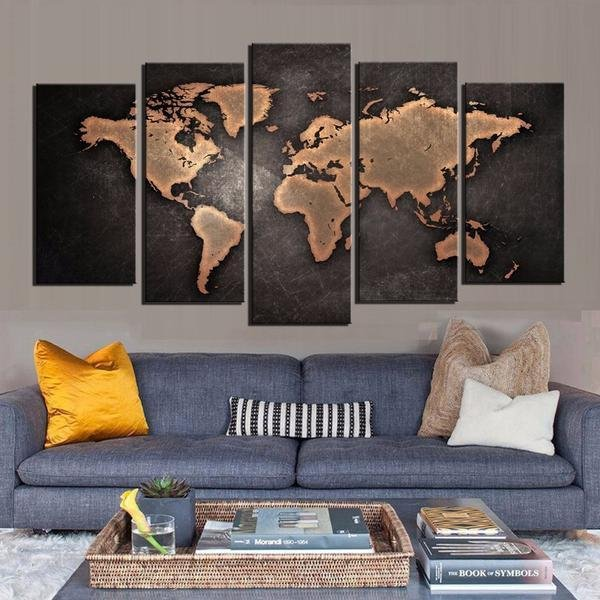 Black World Map Panel On Canvas - Limited Edition - Gaia-Stock.com