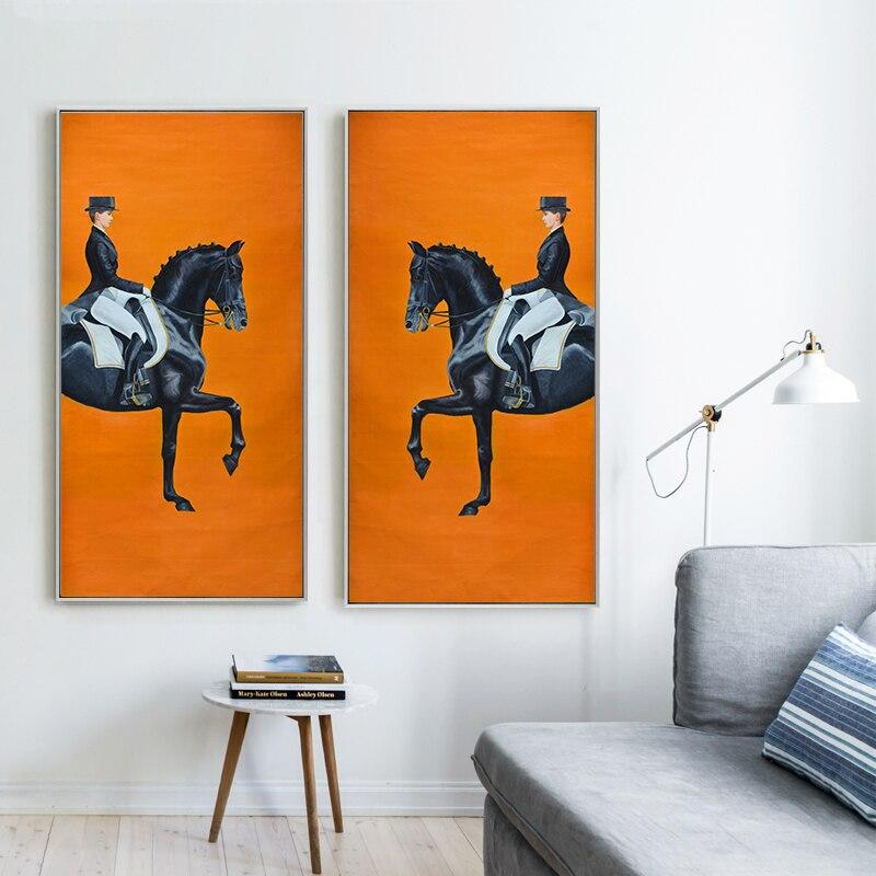 Classic Modern Orange Horse racing Canvas - Gaia-Stock.com