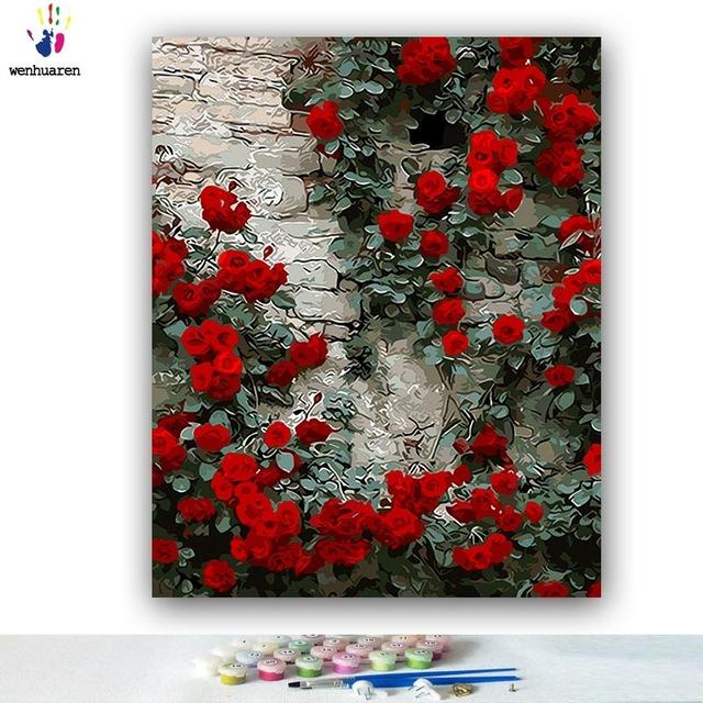 DIY Coloring paint by numbers Blooming red rose flower - Gaia-Stock.com