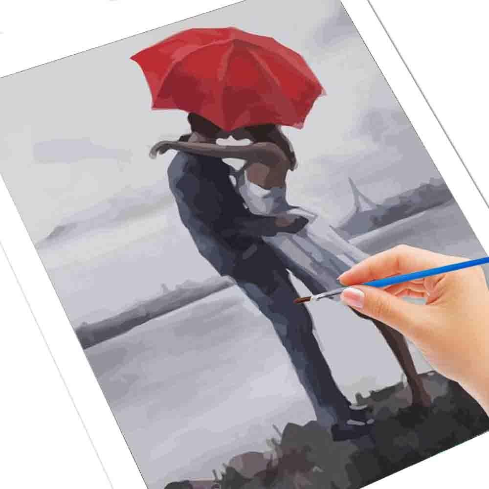 DIY Paint By Numbers Lovers Under An Umbrella - Gaia-Stock.com