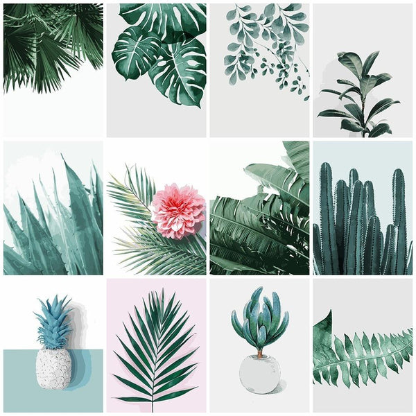 DIY Painting By Number Plant Leaf Landscape, modern - Gaia-Stock.com