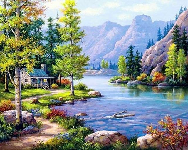 DIY Painting By Numbers Waterfall Landscape - Gaia-Stock.com