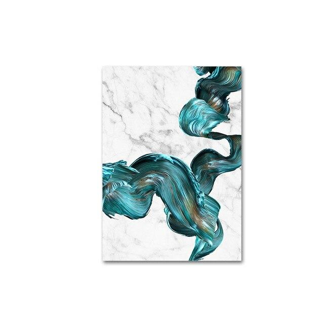Large Modern Abstract Marble Blue Watercolor Canvas - Gaia-Stock.com