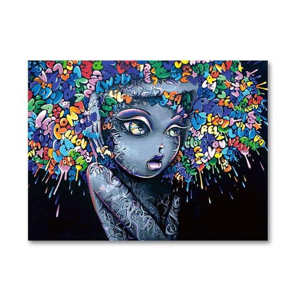 Modern Creative Abstract Girl Graffiti Canvas - Gaia-Stock.com