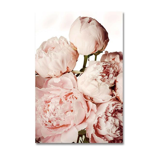 Modern Pink Flowers green plants Wall Poster! - Gaia-Stock.com