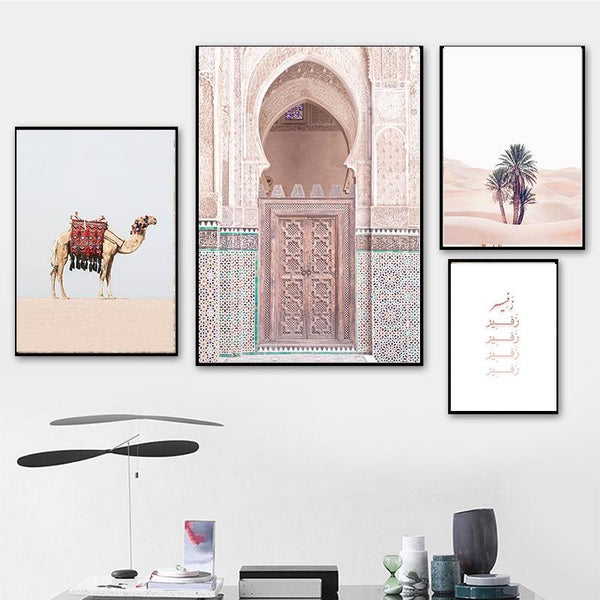 Morocco Door Church Desert Camel Mountain Wall Art Canvas - Gaia-Stock.com