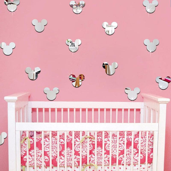 New Mirror Wall Stickers Kids Room Cute Mickey Mouse Crystal Stereo Mirror Stickers Acrylic 3d Decorative Stickers - Gaia-Stock.com