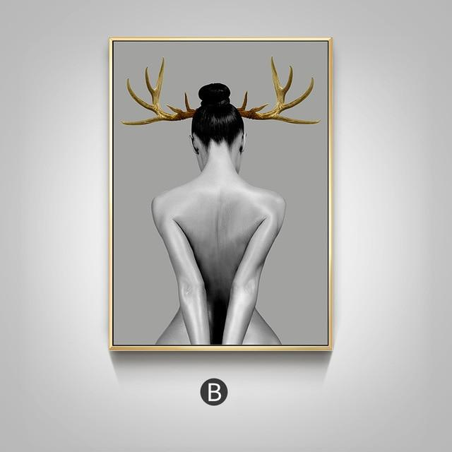 Nordic Antlers girls Figuars wall art Canvas Painting Prints Posters Black White Nude art Pictures for Living Room Morden Decor - Gaia-Stock.com