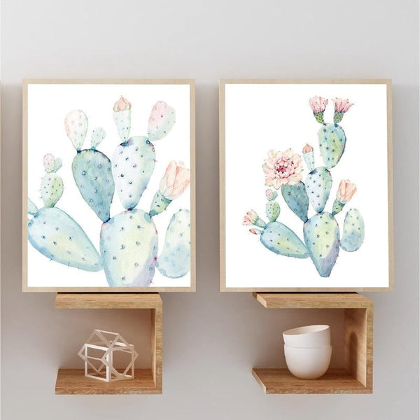 Nordic Art Print Pastel Watercolor Cactus Canvas Painting Poster Botanical Wall Art Pictures For Living Room Home Decor No Frame - Gaia-Stock.com