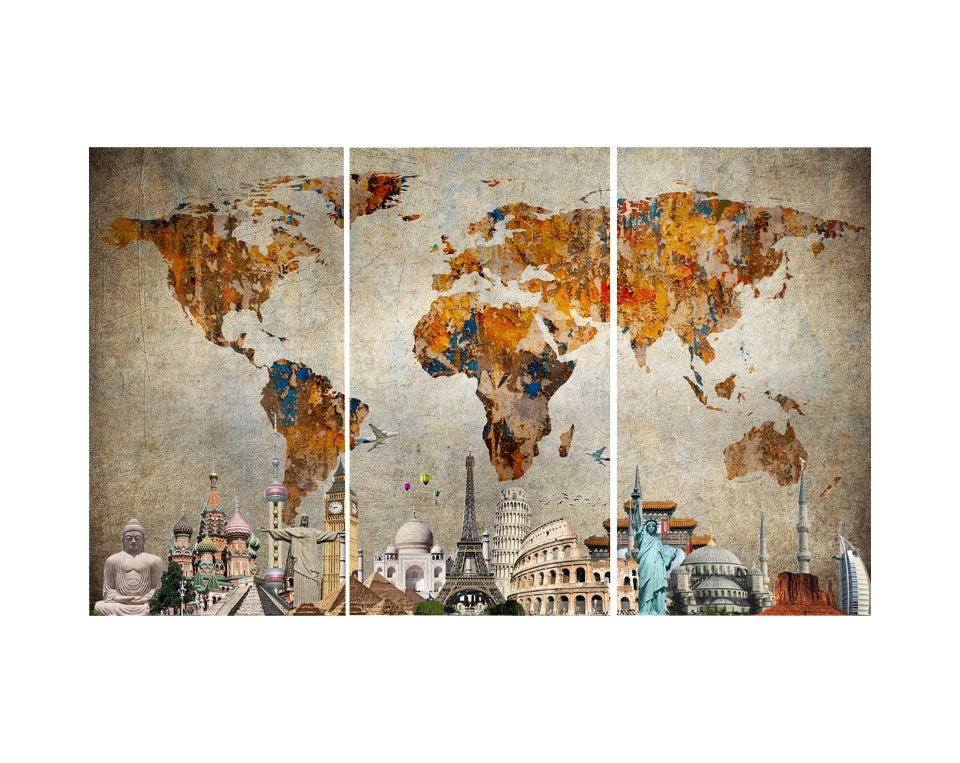Masterpiece Colorful World Map GaiaStockcom - Colorful world map painting