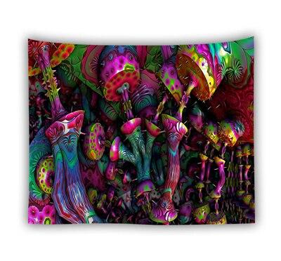 Psychedelic Wall Tapestry Wall Hanging Huge Mushroom House Hippie - Gaia-Stock.com
