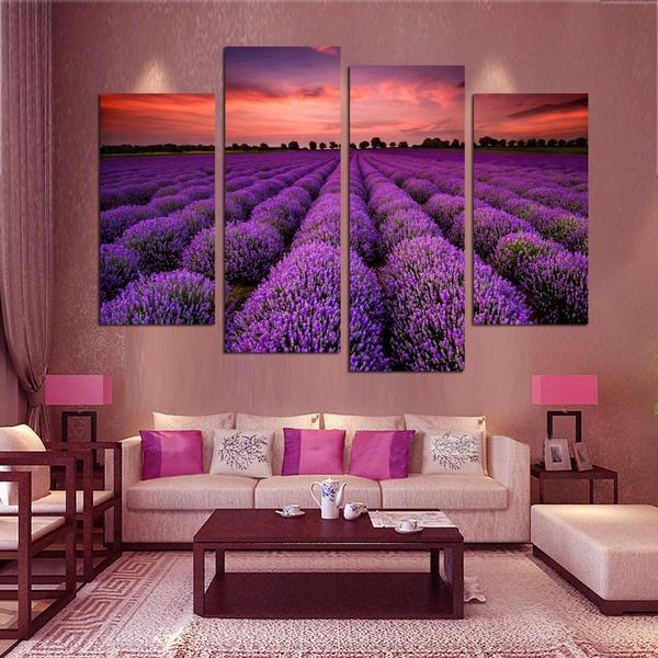 Purple Lavender Blossom 4 Pieces Canvas - Gaia-Stock.com