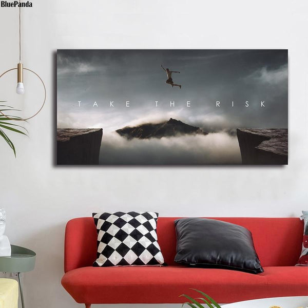 Take The Risk Motivational Quote Minimalist Art Canvas Poster Print Abstract Painting Wall Picture Modern Home Decor - Gaia-Stock.com