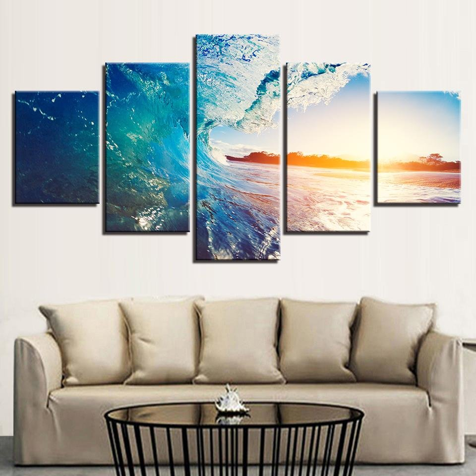 The Perfect Wave On 5 Panel Canvas - Gaia-Stock.com