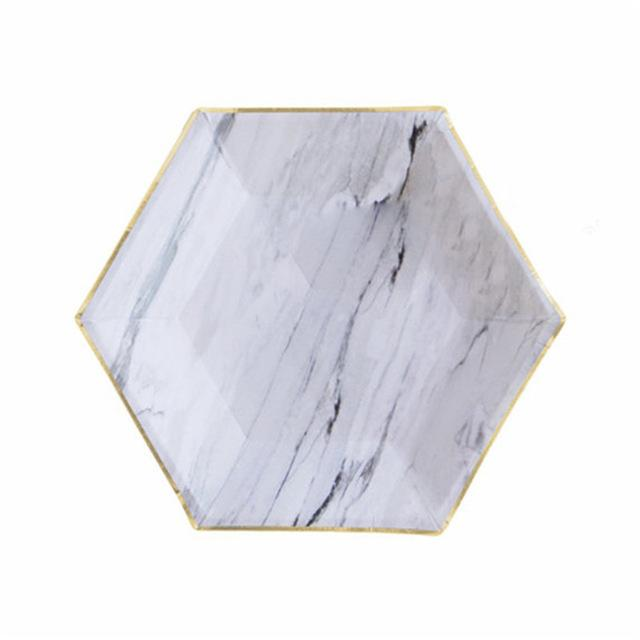 White Marble Small Paper Plates - Gaia-Stock.com