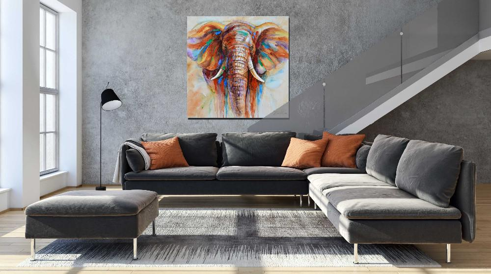 Wildlife Colorful Elephant On Canvas - Gaia-Stock.com