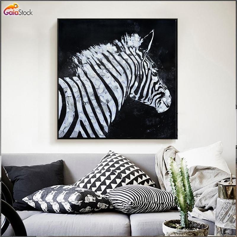 Zebra vs Horse Modern Oil Painting - Gaia-Stock.com