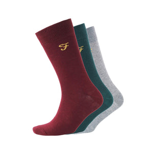 Benkwith Socks 3Pk - Burgundy Marl/green Marl/charcoal Marl Accessories