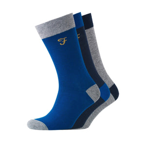 Cason Socks 3Pk - Yale/true Blue/charcoal Accessories