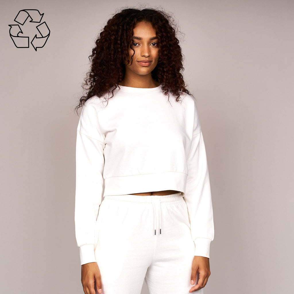 Ladies Catalina Crop Crew Sweat White
