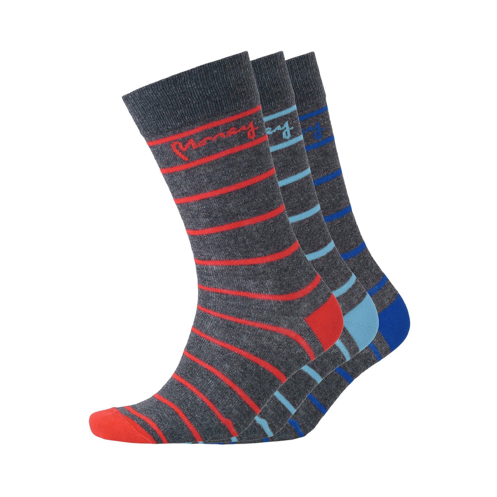 Sig Striped Socks 3Pk - Charcoal Marl Mix 6-11 Accessories