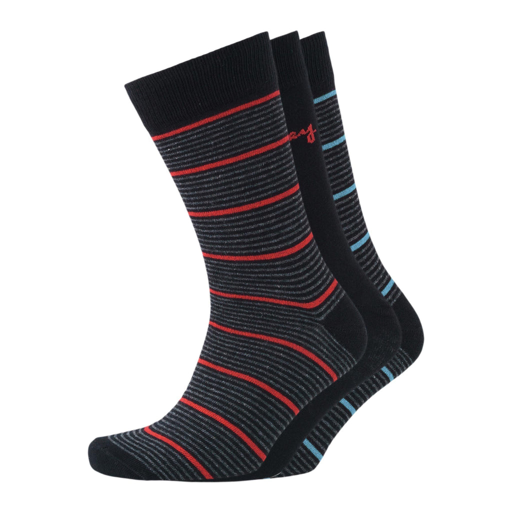 Stripe Mix Sig Socks 3Pk - Black Assorted 6-11 Accessories