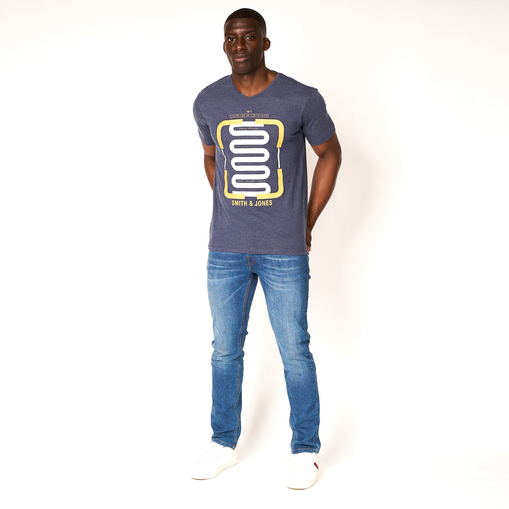 Corbyn T-Shirt Black Iris Blue Marl