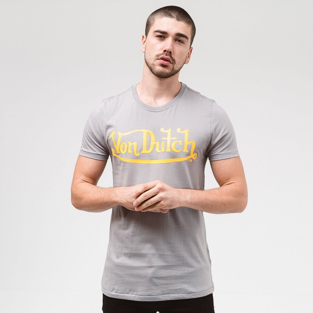 Von Dutch Classic Raised T-Shirt - Grey/yellow S T-Shirts