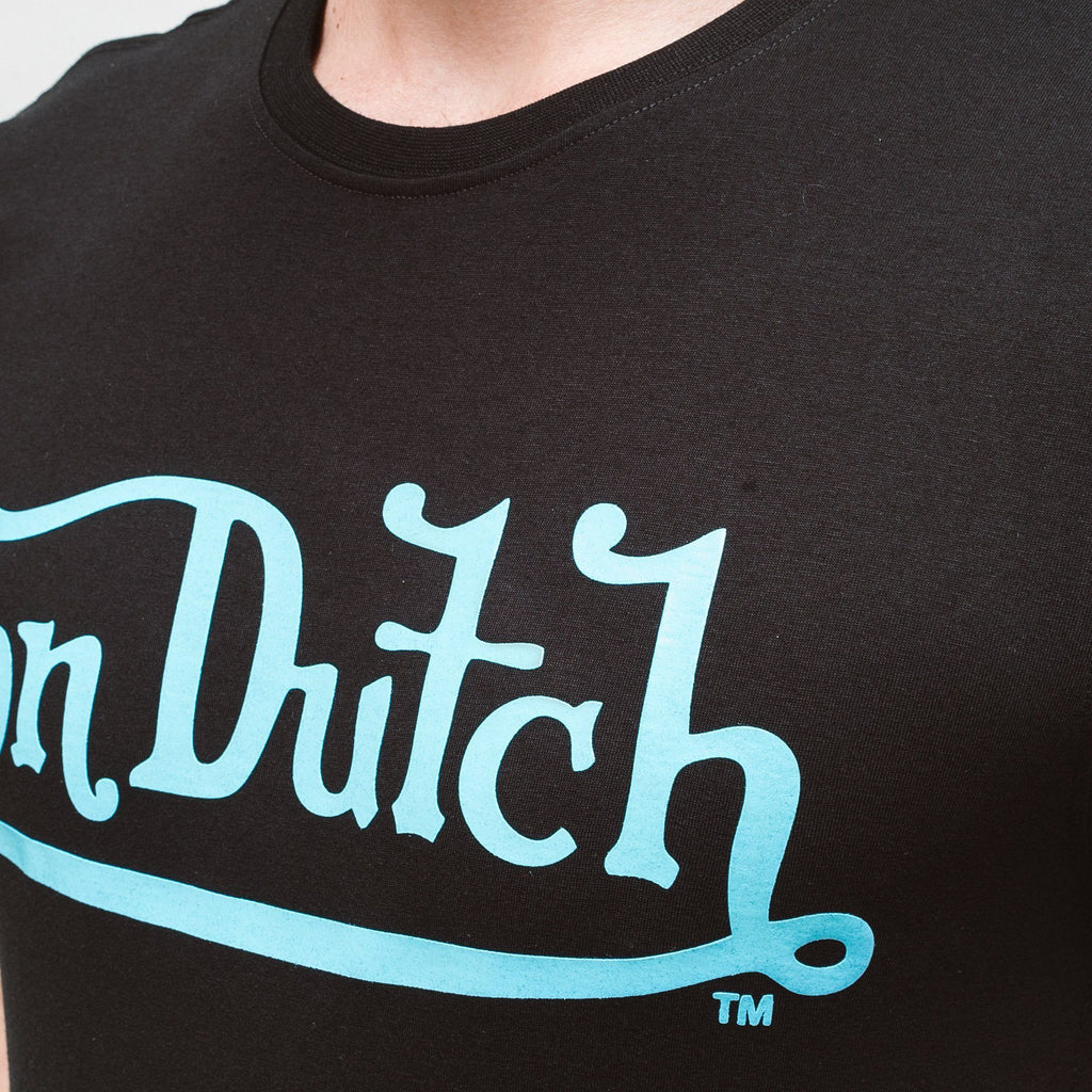 Von Dutch Classic Raised T-Shirt - Black/cyan T-Shirts