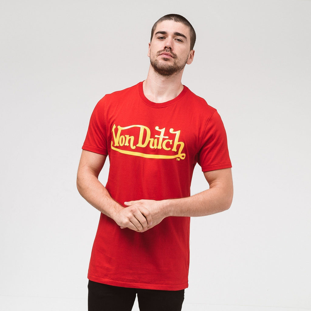 Von Dutch Classic Raised T-Shirt - Red/yellow S T-Shirts