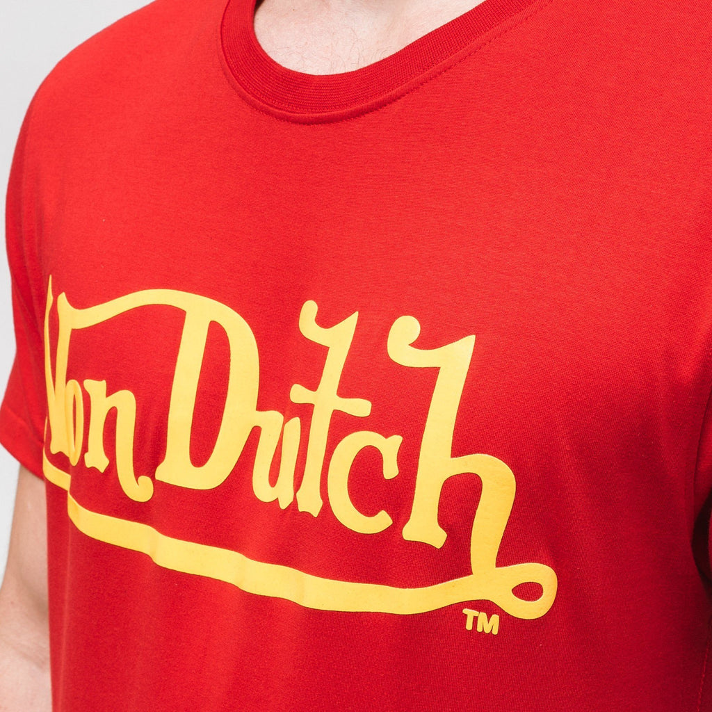 Von Dutch Classic Raised T-Shirt - Red/yellow T-Shirts
