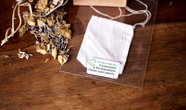 eco-friendly, biodegradable packaging, handmade cotton tea bags, plastic free