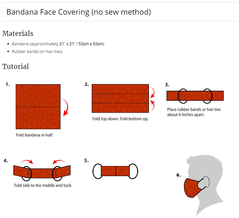 diy face mask bandana no sewing pandemic corona 2020