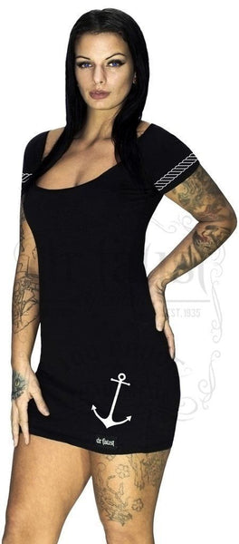 Anchor and Ropes Short Sleeve Black Mini Dress - Nathaly - Dr Faust