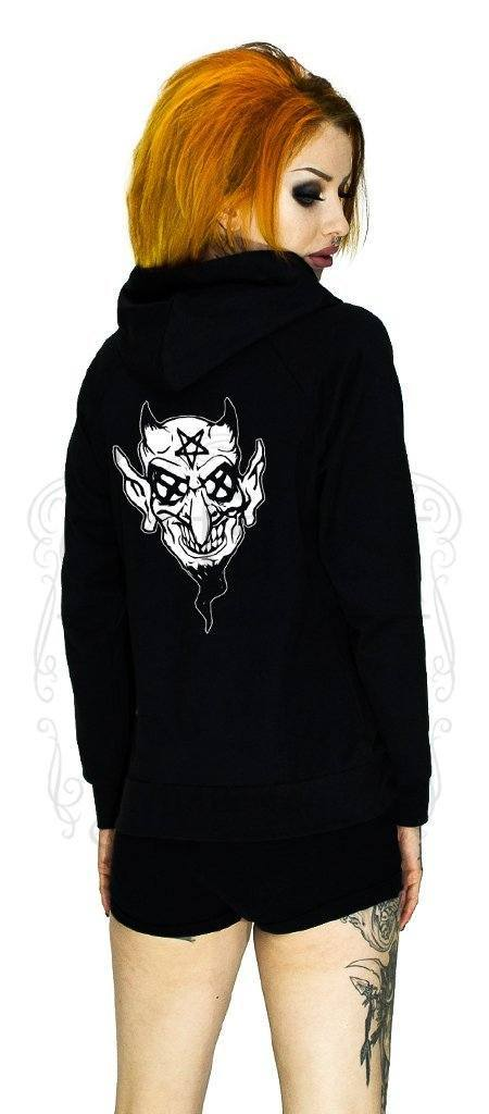 Pentagram Eyes Crazy Devil Women's Black Hoodie - Regina - Dr Faust