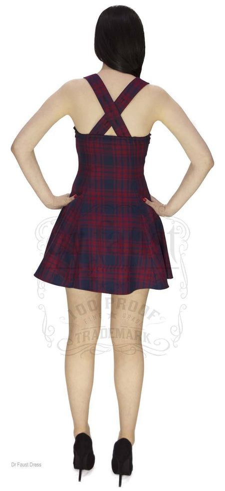 Red and Blue Tartan Woven Mini Dress - Ella - Dr Faust