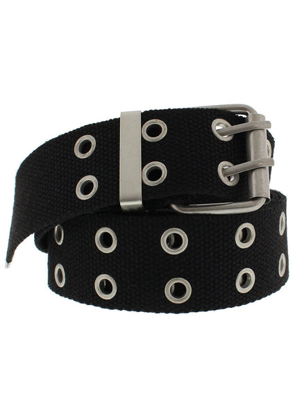 2-Row Eyelets Black Canvas Webbing Belt - Carter - Dr Faust