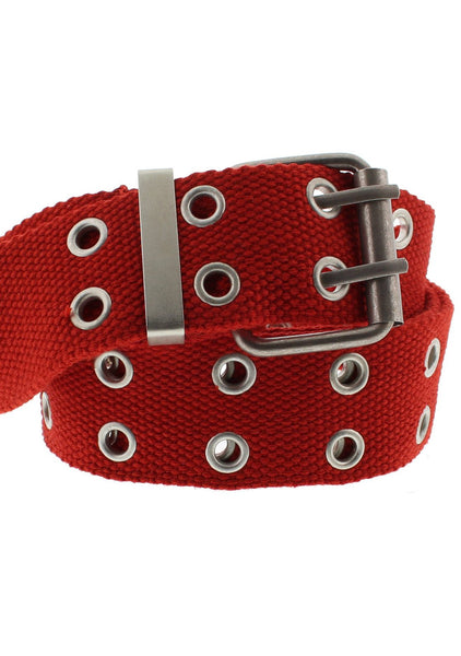 2-Row Eyelets Red Canvas Webbing Belt - Carter - Dr Faust