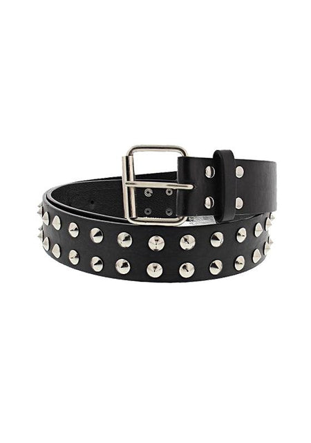 2-Row Conical Studded Black Vegan Leather Belt - Kane - Dr Faust