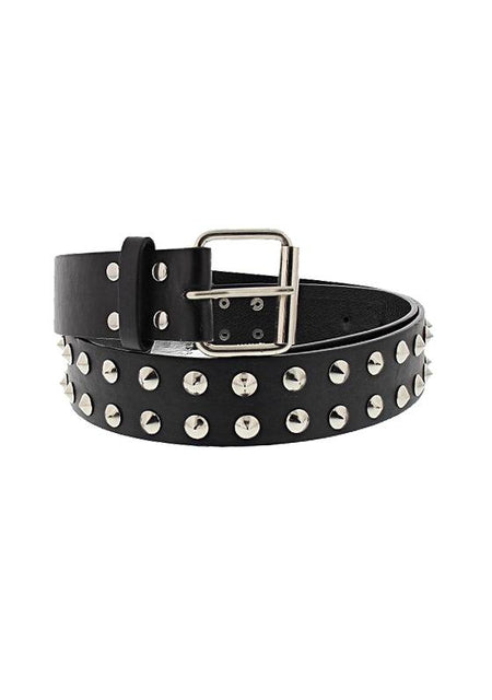2-Row Conical Studded Black Leather Belt - Kane - Dr Faust
