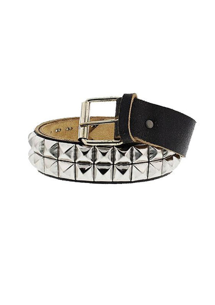 2-Row Pyramid Studded Black Cracked Leather Belt - Orion - Dr Faust