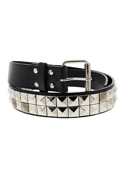 2-Row Pyramid Studded Black Vegan Leather Belt - Luka - Dr Faust
