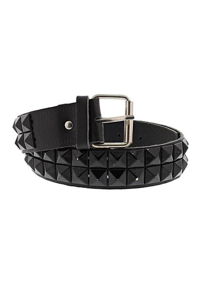 2-Row Pyramid Studded Black Leather Belt - Ronan - Dr Faust