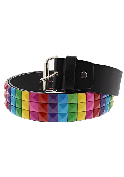 3-Row Rainbow Pyramid Chessboard Black Leather Belt - Kameron - Dr Faust