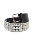 3-Row Silver Pyramid Black Leather Belt - Kameron - Dr Faust