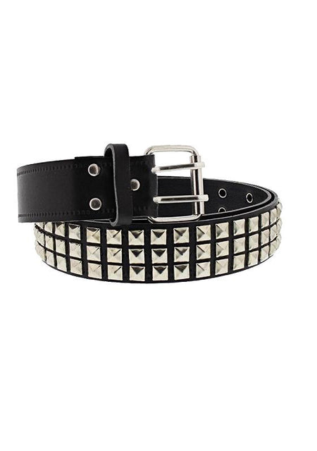 3-Row Silver Spaced Pyramid Black Leather Belt - Daxton - Dr Faust